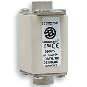 Eaton/Bussmann Series 170M1366 80A Square Body DIN 43-653 Fuse, Size 000, Visual Indicator, 690/700V