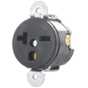 Leviton 5458-SS Single Receptacle, Short Strap, 20A, 250V, 6-20R, Black