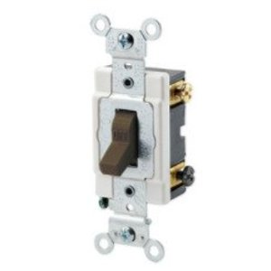 Leviton 1222-S Heavy Duty Double-Pole Toggle Switch, 20A, 120/277V, Brown, Industrial