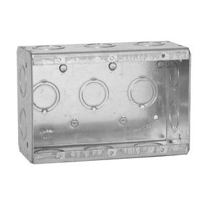 "Hubbell-Raco 692 Masonry Box, 3-Gang, 2-1/2"" Deep, 1/2 "" & 3/4"" KOs, Metallic"