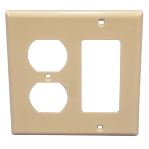 Leviton 80746-T Comb. Wallplate, 2-Gang, Duplex/Decora, Nylon, Lt Almond, Standard