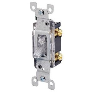 Leviton 1461-GLW Single-Pole Lighted Handle Switch, 15A, 120V, Green, LIT WHEN OFF