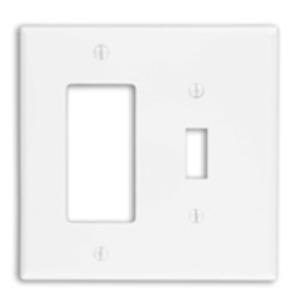 Leviton PJ126-W Combo Wallplate, 2-Gang, Toggle/Decora, Nylon, White, Midway