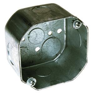 "Hubbell-Raco 167 4"" Octagon Box, 2-1/8"" Deep, 1/2"" & 3/4"" KOs, Drawn, Steel"