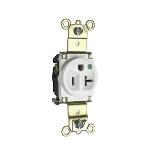 Pass & Seymour 8301-W Hospital Grade Single Receptacle, 20A, 125V, White, 5-20R