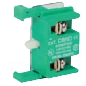 C3 Controls CBNO Contact Block, 30mm, Normally Open, Silver Contacts, Green, Snap On