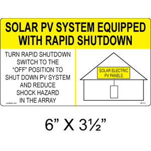 "PV Labels 05-111 Solar Warning Label, Rapid Shutdown, 6"" x 3 1/2"""