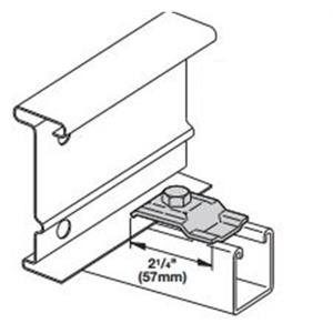 """Cooper B-Line 9ZN-1208NB Cable Tray Clamp/Guide, Length: 2-1/4"""", Hardware Size: 3/8"""", Material: Steel, Finish: Zinc Plated"""
