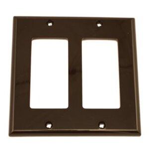 Leviton 80409-N Decora Wallplate, 2-Gang, Nylon, Brown