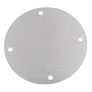 "Red Dot SS-B Weatherproof Round Box Cover, Diameter: 4-1/8"", Blank, Aluminum"