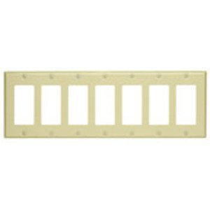 Leviton 80407-I Decora Wallplate, 6-Gang, Thermoset, Ivory
