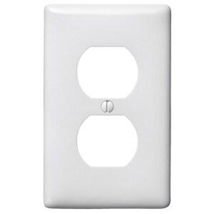 Hubbell-Bryant NPJ8W Duplex Receptacle Wallplate, 1-Gang, Nylon, White, Midsize