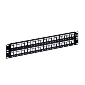 "ICC IC107BP241 Patch Panel, Blank, 24 Port, 1.72"" H x 19"" W, 1RMU, Flat, Black"