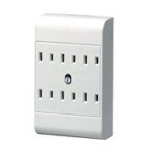 Leviton 49687-W Plug-In Outlet Adapter, 6 Outlets, 15A, 120V