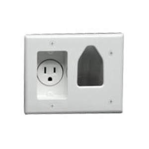 DataComm Electronics 45-0021-WH Cable Access and Single Receptacle 15A