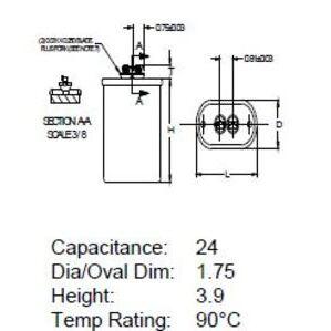 Philips Advance MD2409100 HID Non-PCB Capacitor, 24Mfd., 480V.