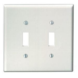 Leviton 80509-W Toggle Wallplate, 2-Gang, Thermoset, White, Midway
