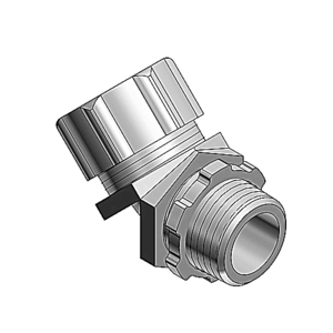 "Thomas & Betts 5243 Liquidtight Connector, 45°, 3/4"", Non-Insulated, Malleable Iron"