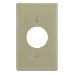 "Hubbell-Bryant NP7I Single Receptacle Wallplate, 1-Gang, 1.40"" Hole, Nylon, Ivory"