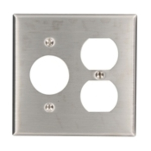 Leviton 84046-40 Comb. Wallplate, 2-Gang, Single Rcpt./Toggle, 302 Stainless Steel