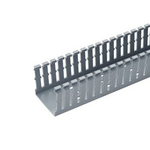 "Panduit F1.5X1LG6 Wiring Duct,  Narrow Slot, 1-1/2"" x 1"" x 6', PVC, Gray"