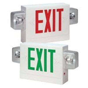 Hubbell-Dual-Lite SMXWR3 Emergency Light/Exit Sign Combo, Incandescent, Dual Head, Red Letters, 6V, 5.4W