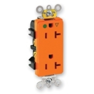 Leviton 16362-IG Decora Duplex IG Receptacle, 20A, 125V, Orange, Back/Side Wired