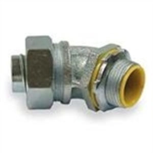 """Hubbell-Raco 3563 Liquidtight Connector, 45°, 3/4"""", Insulated, Malleable Iron"""