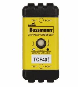 Eaton/Bussmann Series TCF40 Fuse, Low-Peak CUBEFuse, Indicating, 40A, 600VAC, 300VDC