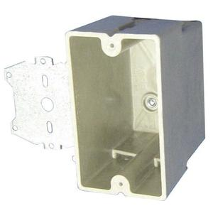 """Allied Moulded 1098-Z4 Switch/Outlet Box with Bracket, 1-Gang, Depth: 3-1/4"""", Thermoset Fiberglass"""