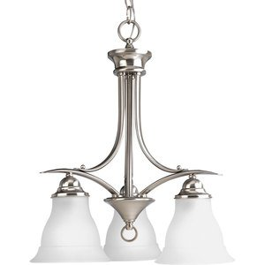 Progress Lighting P4324-09 Chandelier, 3-Light, 100W, Brushed Nickel