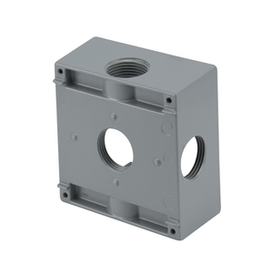 "BWF TGB100-5XV Weatherproof Outlet Box, 2-Gang, Depth: 2"", (5) 1"" Hubs"