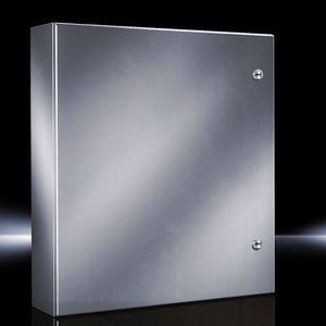 "Rittal 8017600 Wall Mount Enclosure, NEMA 4X, 24 x 24 x 8"", Stainless Steel"