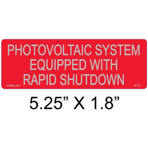PV Labels 02-317 PV Warning Label, Equipped with Rapid Shutdown Switch