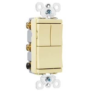 Pass & Seymour TM8111-ICC Decora Switch, (3) 1-Pole, 15A, Ivory