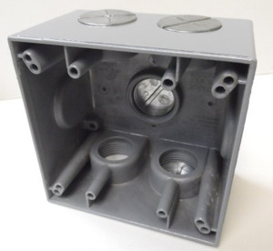 "Mulberry Metal 30596 Weatherproof Outlet Box, 2-Gang, Depth: 2-5/8"", (5) 1"" Hubs"
