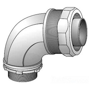 "Appleton 4QS-975T Liquidtight Connector, 90°, 3/4"", Insulated, Steel"