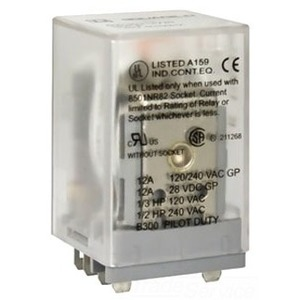 Square D 8501KU12M1V20 Relay, Ice Cube, 10A, 2PDT, 8-Blade, 120VAC Coil, with Options *** Discontinued ***