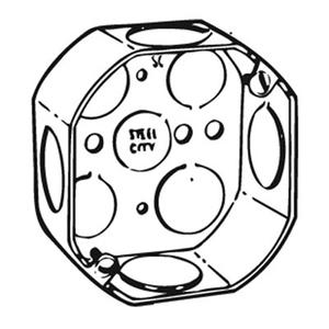 "Steel City 54151-3/4 4"" Octagon Box, 1-1/2"" Deep, 1/2"" & 3/4"" KOs, Drawn, Steel"