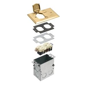FLB5331MB BRASS FLOOR BOX KIT FLIP CVR