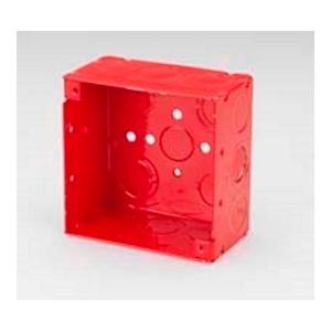 "Bridgeport Fittings FA-401 4"" Square Box, Type: Red Fire Alarm, Welded, Depth: 2-1/8"", Steel"