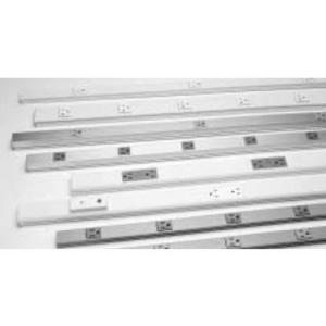 """Wiremold BK20GB306 Plugmold Outlet Strip, Steel, Black, 6 Outlets, 6"""" Centers, 3' Long"""