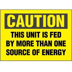 "Panduit PVS0505C174Y 5"" x 5"" Adhesive Decal, Caution Energy Source"