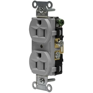 Hubbell-Wiring Kellems CRF15GRY DUP RCPT, COM FG, 15A 125V, 5-15R, GY