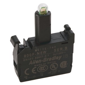 Allen-Bradley 800F-N5W Lamp Module, Integrated LED, 120VAC, White, Latch Mount