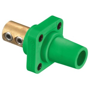 Hubbell-Kellems HBLFRGN 400 Amp Set Screw Type Panel Mount Female Receptacle, Green
