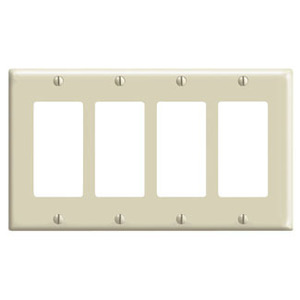 Leviton 80412-I Decora Wallplate, 4-Gang, Thermoset, Ivory