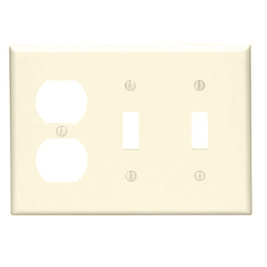 Leviton 80721-I Comb. Wallplate, 3-Gang, (2) Toggle, (1) Duplex, Nylon, Ivory