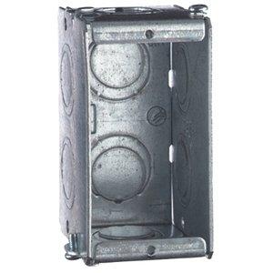 "Steel City GW-125-G Gang Box, 1-Gang, 2-1/2 Deep, 1/2"" and 3/4"" KOs, Steel"