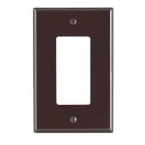 Leviton 80601 Decora Wallplate, 1-Gang, Thermoset, Brown, Midway